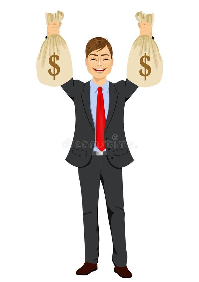 uomo d'affari che tiene due grandi borse dei soldi del dollaro illustrazione vettoriale