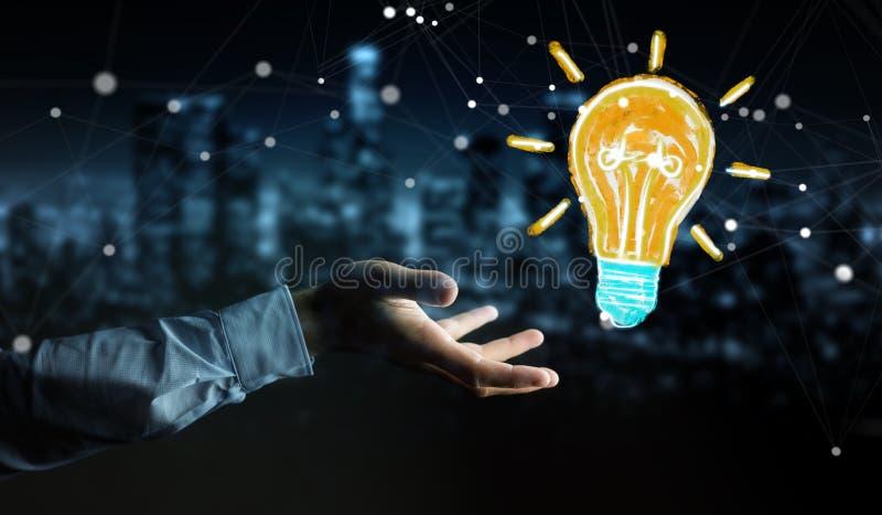 Uomo d'affari che tiene e che tocca uno schizzo della lampadina illustrazione vettoriale