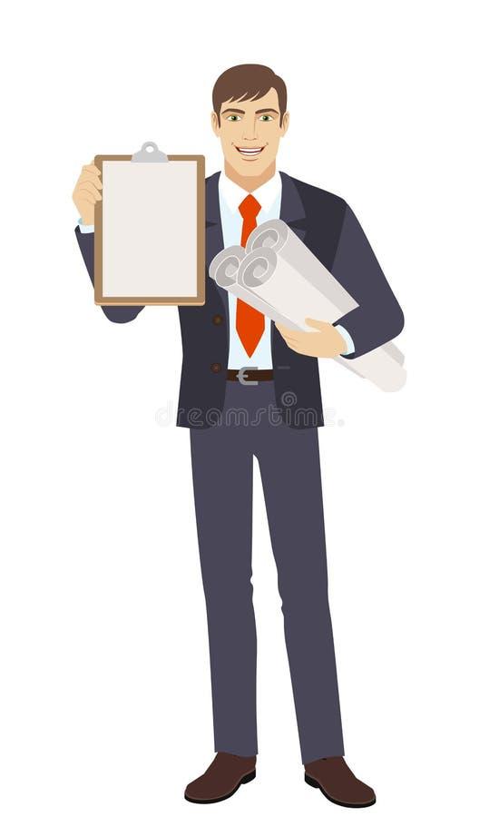 Uomo d'affari che tiene i piani e la lavagna per appunti di progetto illustrazione di stock