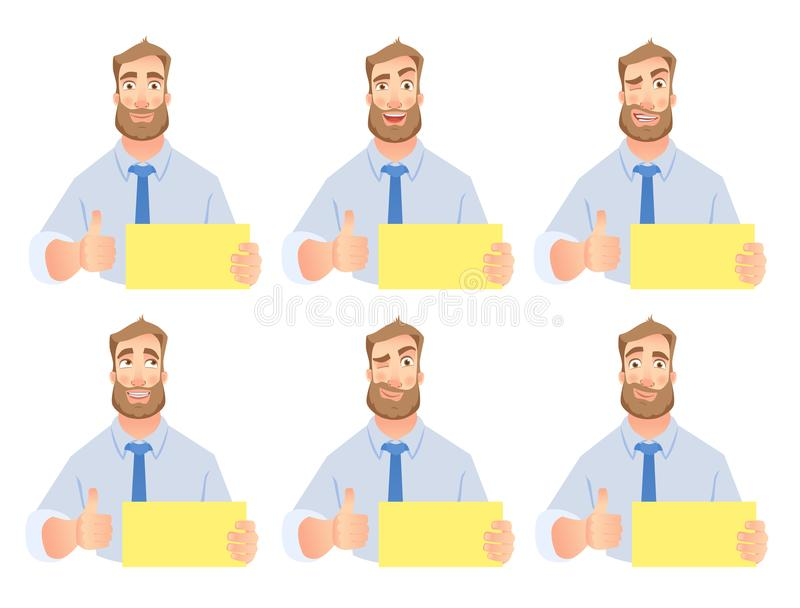 Uomo d'affari che tiene l'insieme in bianco del segno illustrazione di stock