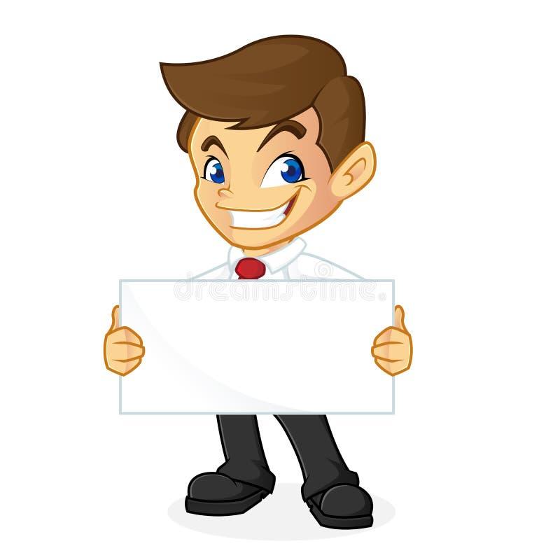 Uomo d'affari che tiene segno in bianco illustrazione di stock