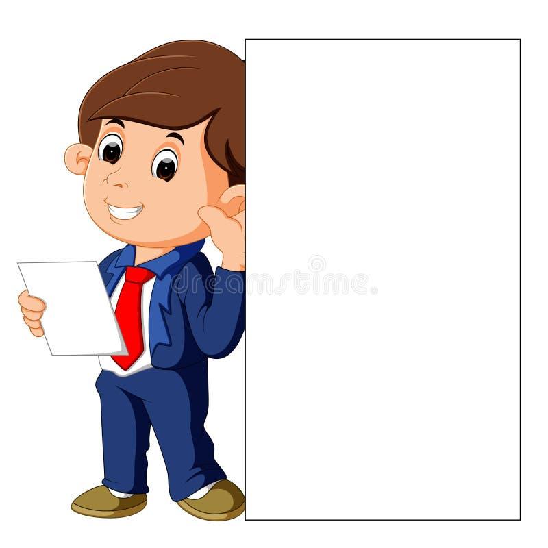 Uomo d'affari che tiene segno bianco in bianco illustrazione vettoriale