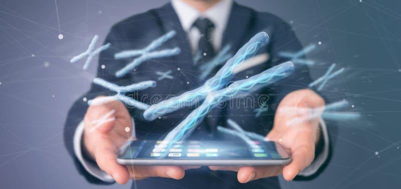 Uomo d'affari che tiene un gruppo di cromosoma con DNA dentro isolato su una rappresentazione del fondo 3d fotografie stock