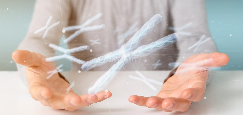Uomo d'affari che tiene un gruppo di cromosoma con DNA dentro isolato su una rappresentazione del fondo 3d fotografia stock libera da diritti