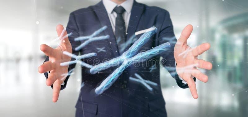 Uomo d'affari che tiene un gruppo di cromosoma con DNA dentro isolato su una rappresentazione del fondo 3d fotografie stock libere da diritti