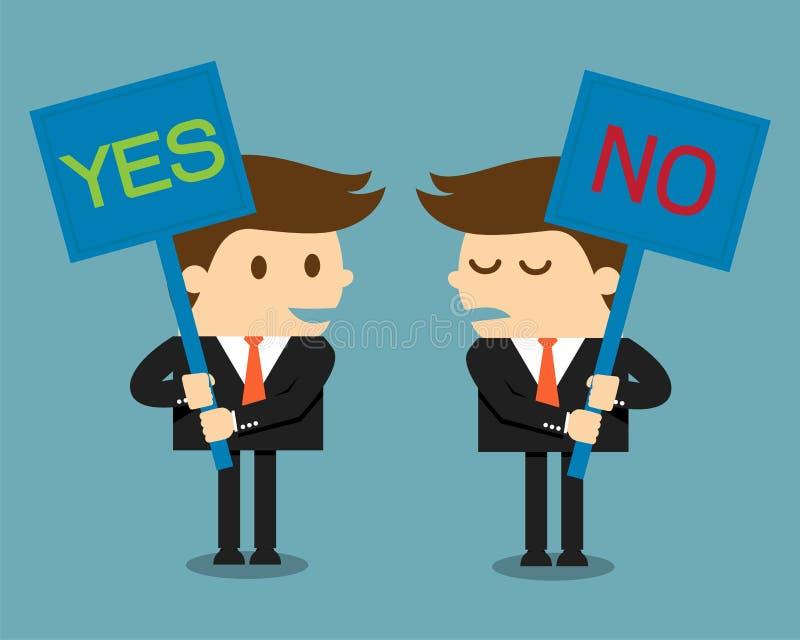Uomo d'affari che tiene un'insegna con la parola sì o no illustrazione vettoriale