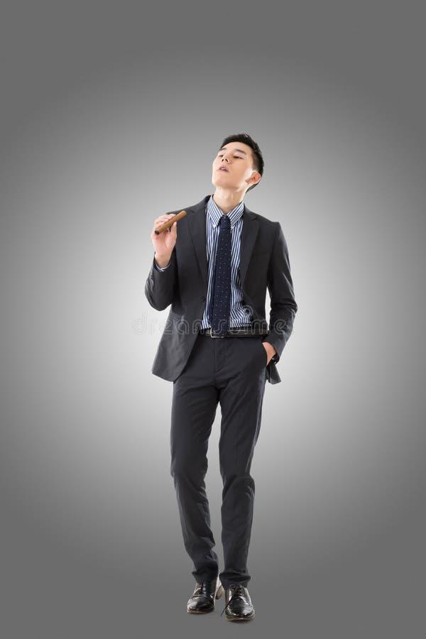 Uomo d'affari che tiene un sigaro immagini stock libere da diritti