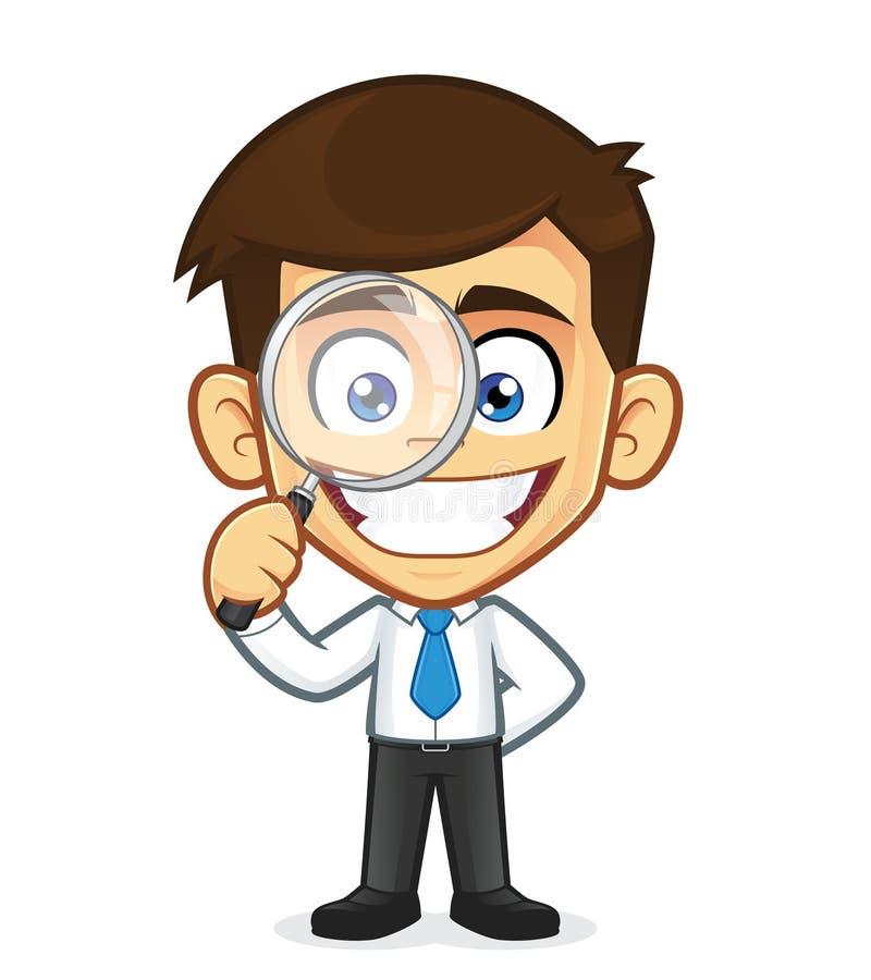 Uomo d'affari che tiene una lente d'ingrandimento illustrazione vettoriale