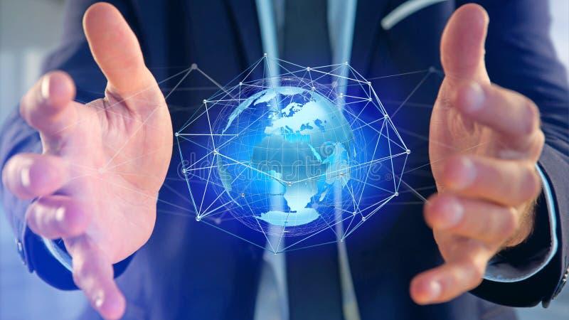 Uomo d'affari che tiene una rete collegata sopra un conce del globo della terra illustrazione vettoriale