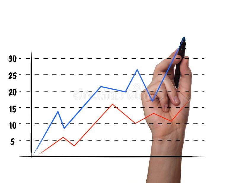 Uomo d'affari che traccia un grafico su uno schermo di vetro illustrazione di stock