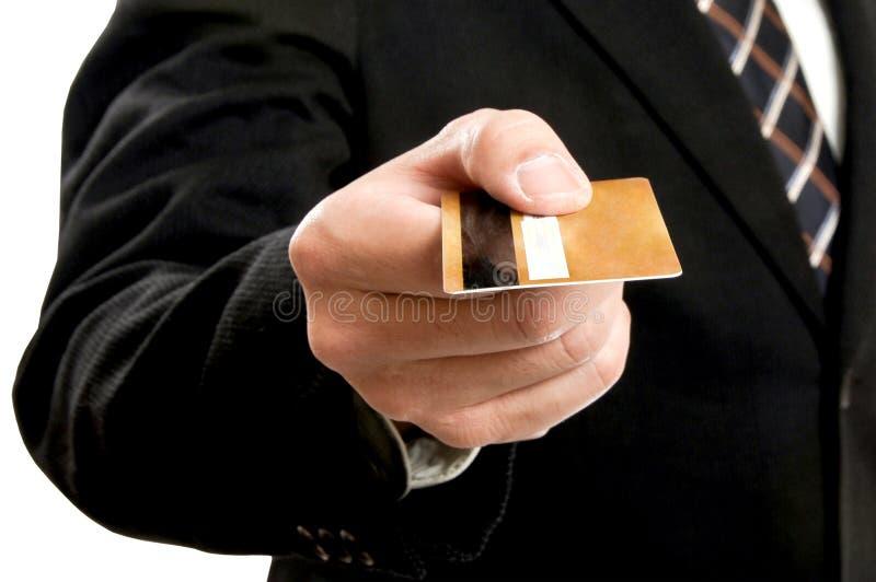 Uomo d'affari che usando la carta di credito per il pagamento immagini stock libere da diritti