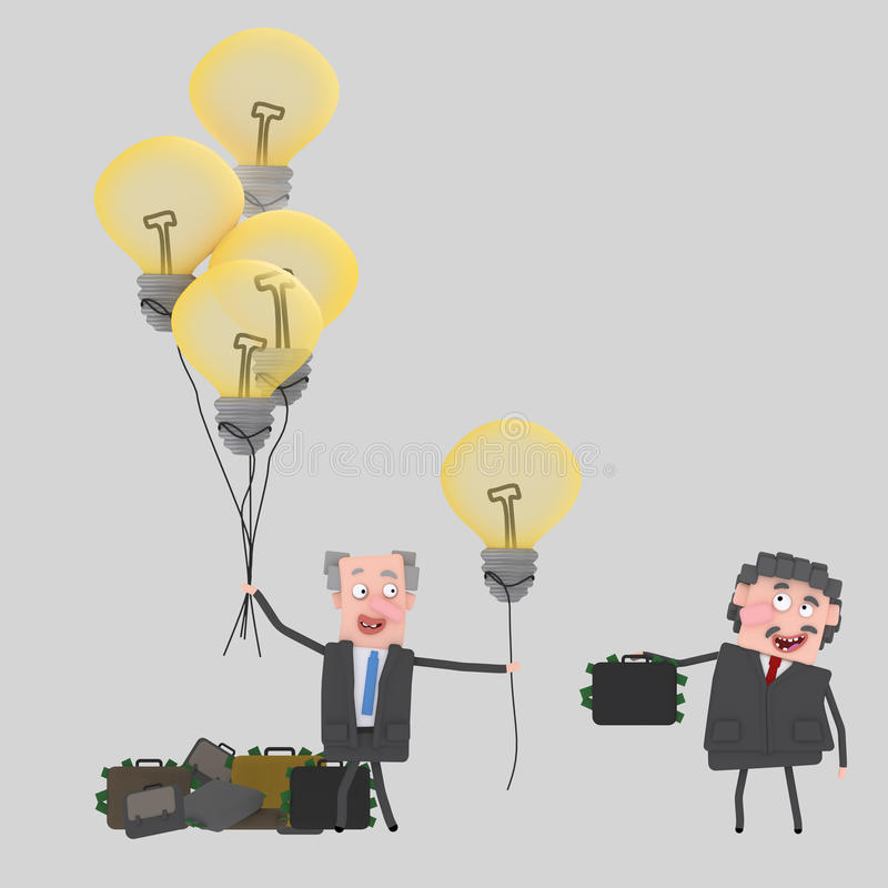 Uomo d'affari che vende le grandi idee illustrazione vettoriale