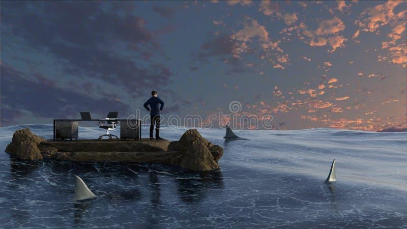 Uomo d'affari circondato da acqua e dagli squali immagini stock libere da diritti
