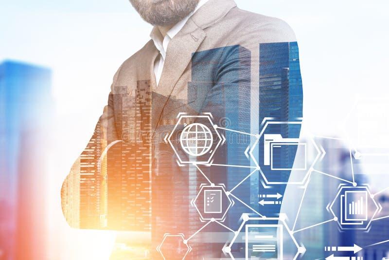 Uomo d'affari in città, icone di commercio illustrazione di stock