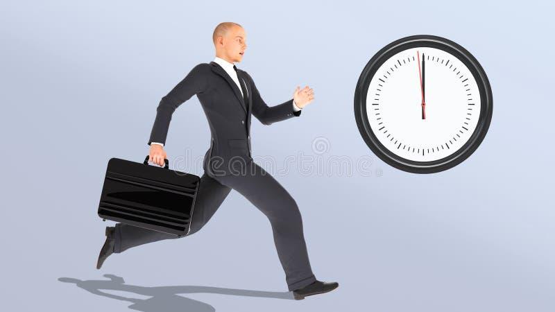 Uomo d'affari con correre della cartella recente, persona di affari che insegue orologio illustrazione vettoriale