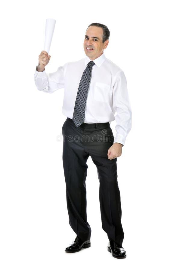 Uomo d'affari con documento rotolato fotografia stock libera da diritti