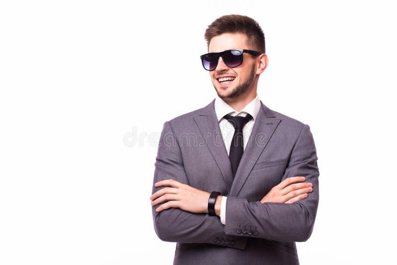 Uomo d'affari con fondo bianco ripiegato armi fotografie stock libere da diritti