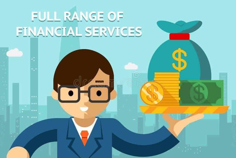 Uomo d'affari con gamma di servizi finanziari completa illustrazione vettoriale