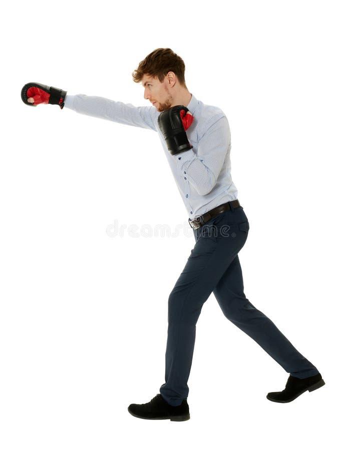 Uomo d'affari con i guanti di inscatolamento fotografia stock libera da diritti