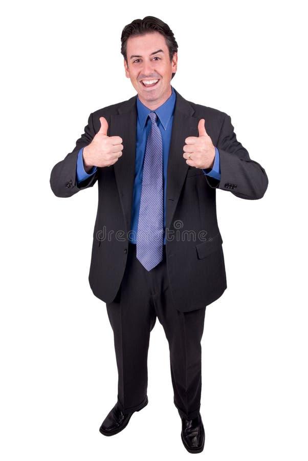 Uomo d'affari con i pollici in su immagini stock libere da diritti