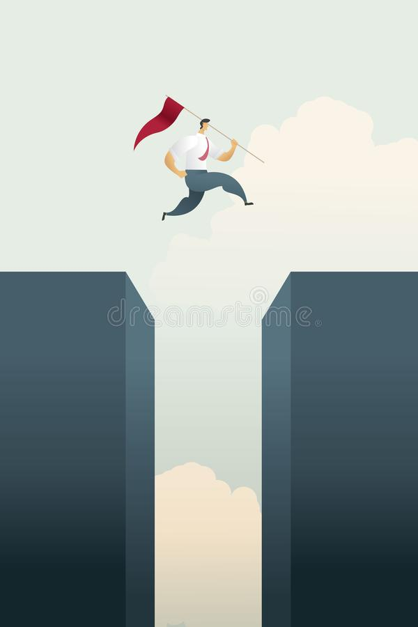 Uomo d'affari con i salti della bandiera attraverso l'istogramma di lacuna superiore sopra degli scopi e l'opportunità di sfida,  illustrazione di stock