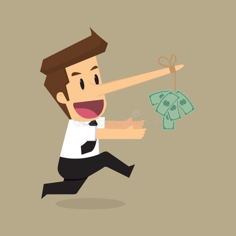 Uomo d'affari con i soldi lunghi del naso su soldi come esca illustrazione vettoriale