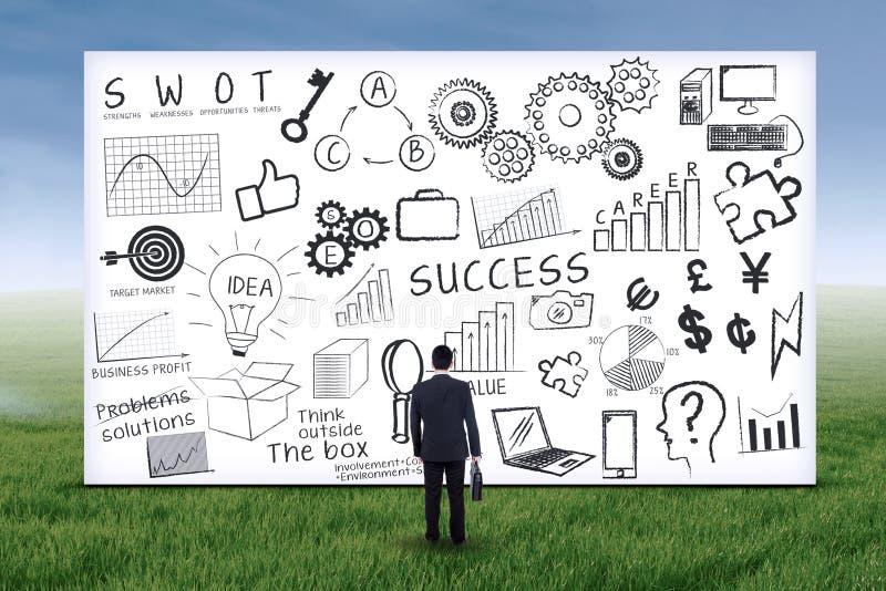 Uomo d'affari con il business plan immagine stock