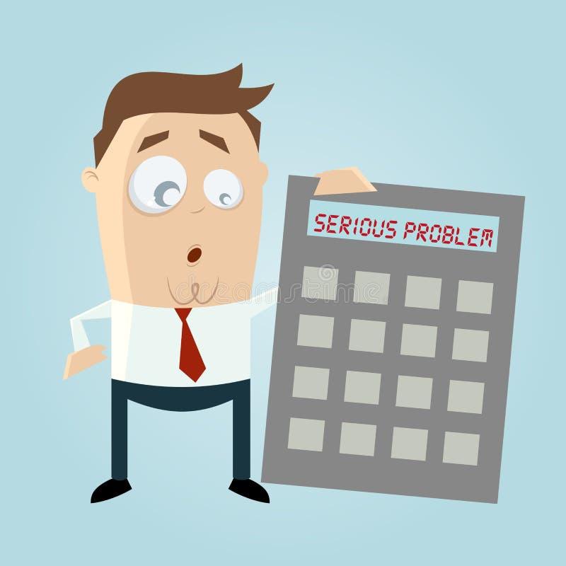 Uomo d'affari con il calcolatore nella difficoltà illustrazione vettoriale