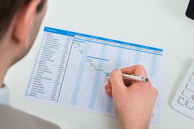Download Uomo D'affari Con Il Diagramma Di Gantt Fotografia Stock - Immagine di programma, businessperson: 55352474