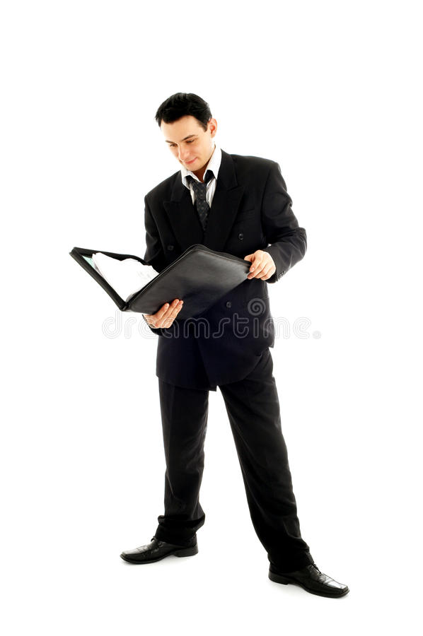 Uomo d'affari con il dispositivo di piegatura #2 immagini stock libere da diritti