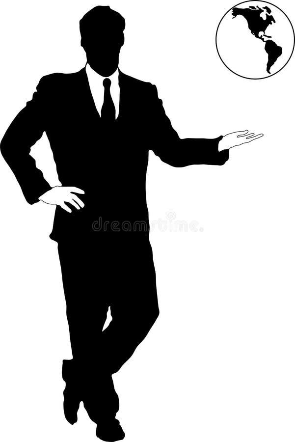 uomo d'affari con il globo royalty illustrazione gratis