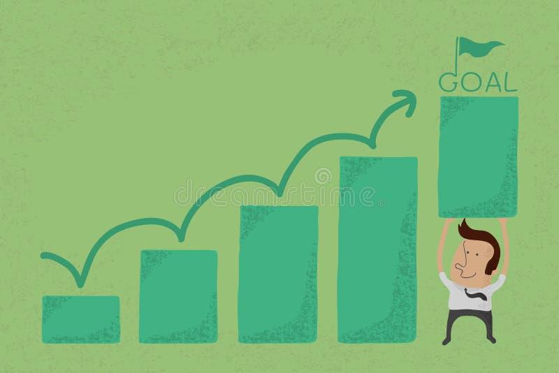 Uomo d'affari con il grafico crescente di affari illustrazione vettoriale