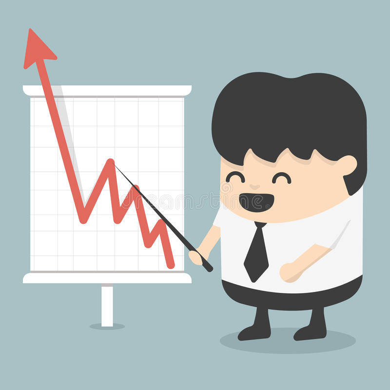 Uomo d'affari con il grafico crescente di affari royalty illustrazione gratis