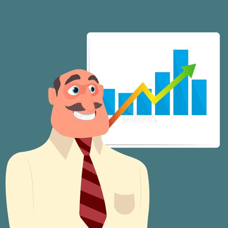 Uomo d'affari con il grafico di crescita di vendite illustrazione vettoriale
