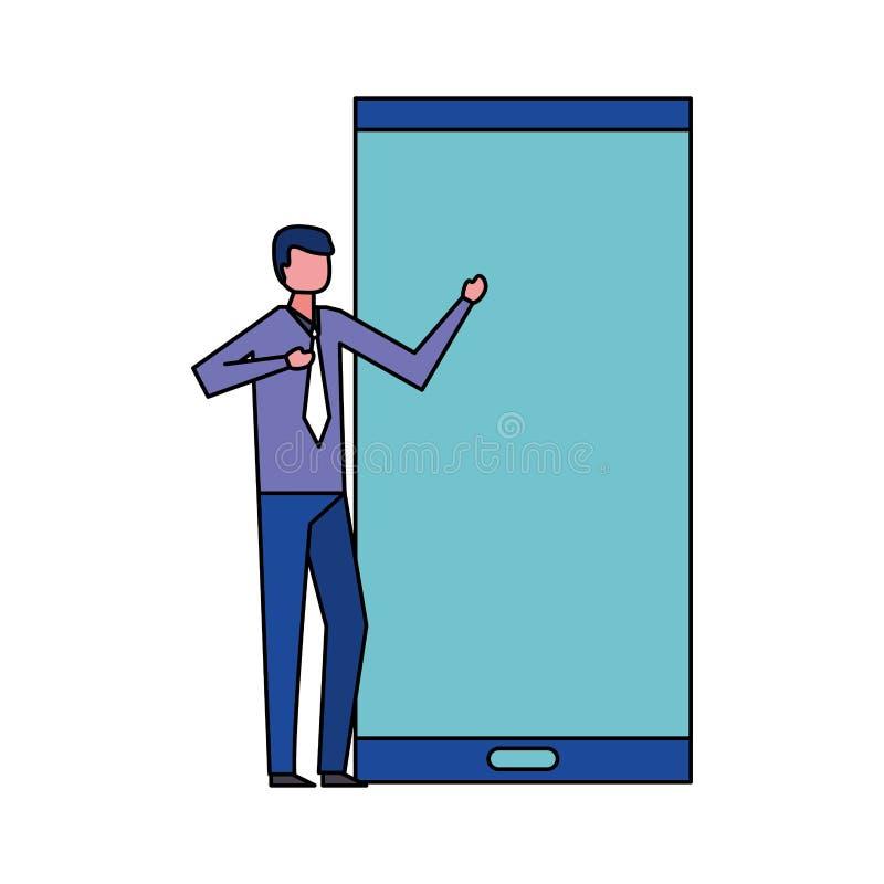 Uomo d'affari con il grande dispositivo mobile illustrazione di stock