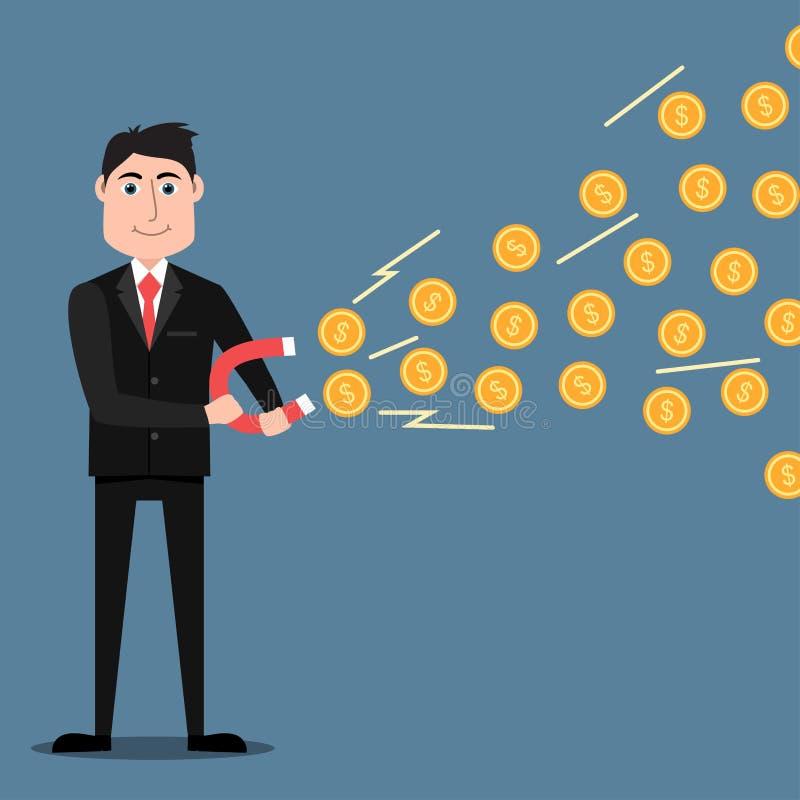 Uomo d'affari con il magnete a ferro di cavallo che attira le monete royalty illustrazione gratis