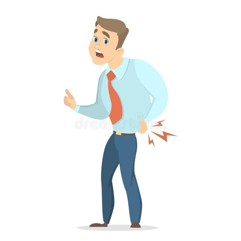 Uomo d'affari con il mal di schiena royalty illustrazione gratis