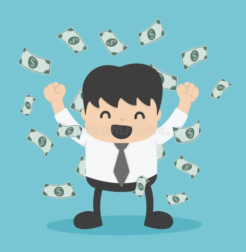 Uomo d'affari con il mucchio dei soldi del dollaro royalty illustrazione gratis