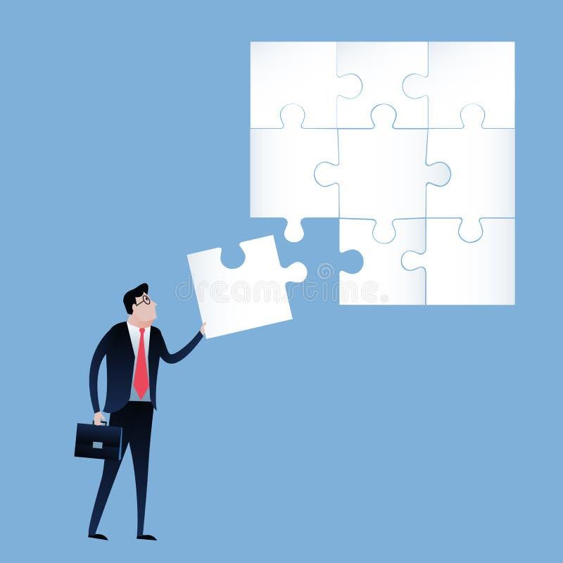 Uomo d'affari con il pezzo finale del puzzle vettore dell'illustrazione di concetto di affari illustrazione di stock