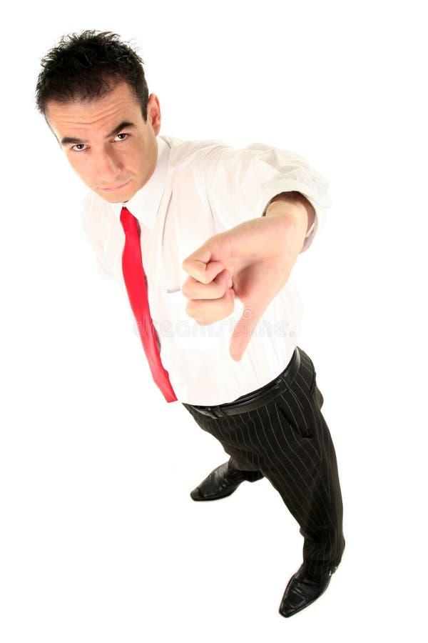 Uomo d'affari con il pollice giù fotografie stock libere da diritti