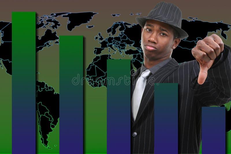 Uomo d'affari con il pollice giù sopra la priorità bassa di caduta del grafico royalty illustrazione gratis