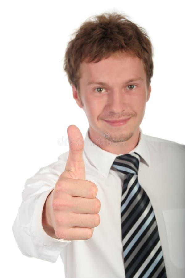 Uomo d'affari con il pollice in su fotografia stock