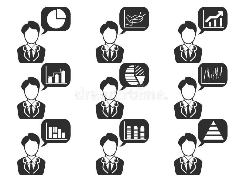 Uomo d'affari con il simbolo di statistiche nelle icone del fumetto messe illustrazione vettoriale