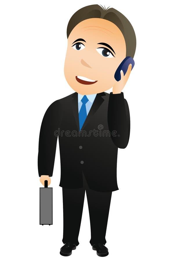 Uomo d'affari con il telefono mobile illustrazione di stock