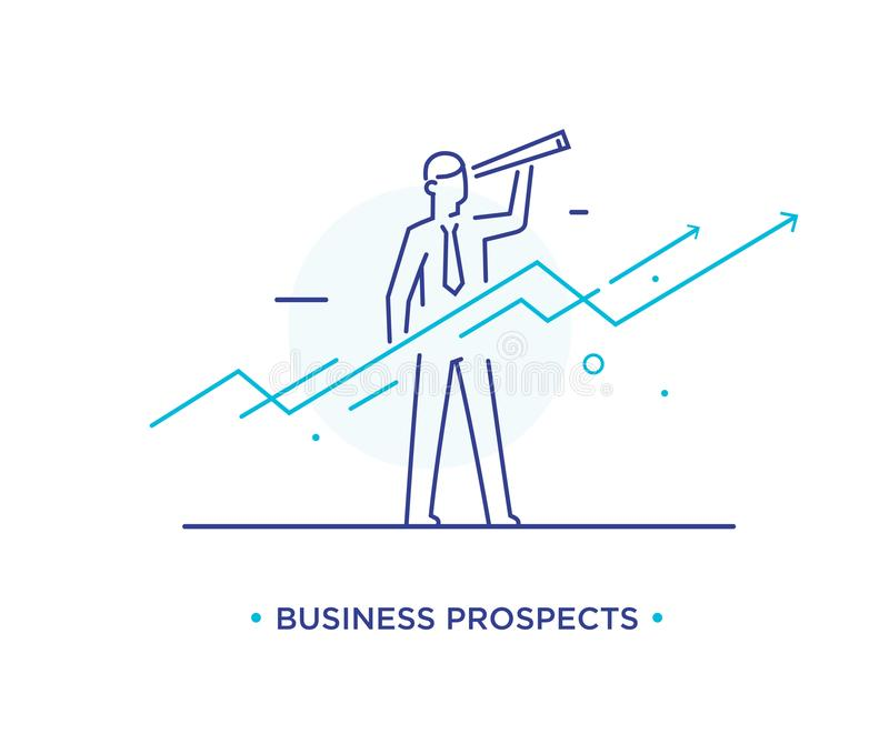 Uomo d'affari con il telescopio che guarda al futuro Diagrammi di Success Successo, tassi di crescita linea illustrazione dell'ic illustrazione di stock