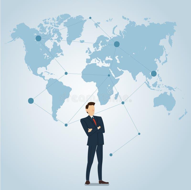 Uomo d'affari con il vettore dell'icona di posizione del perno royalty illustrazione gratis