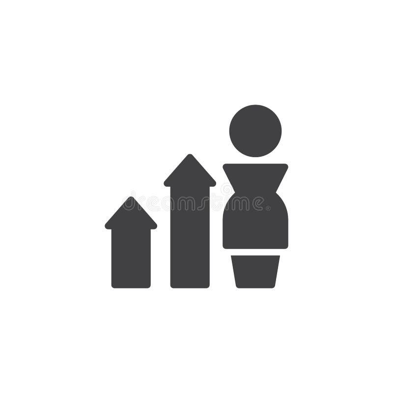 Uomo d'affari con l'icona di vettore di crescita della freccia del diagramma illustrazione di stock