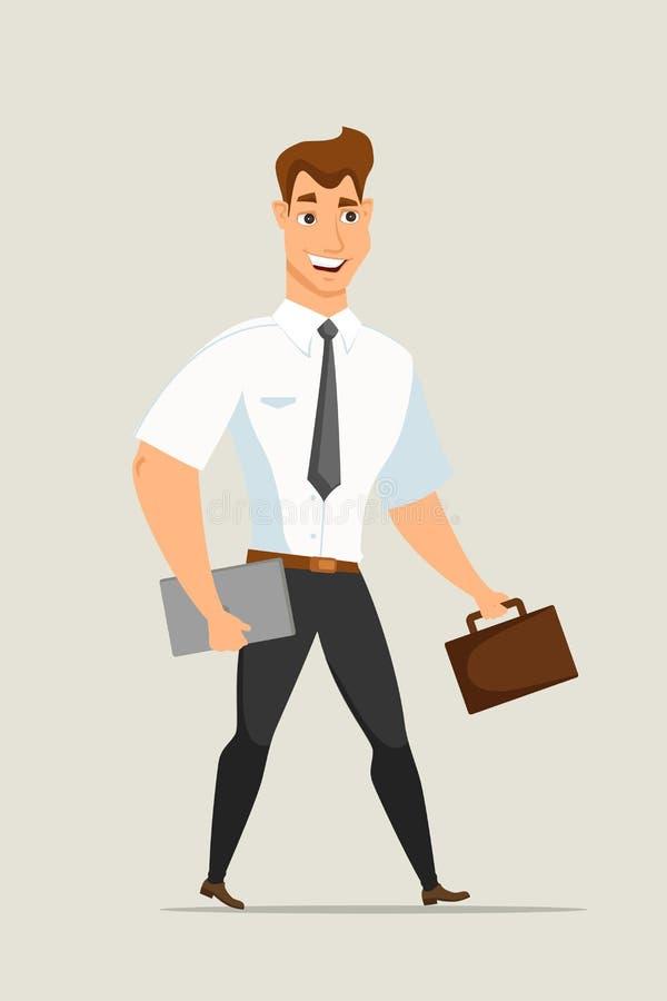 Uomo d'affari con l'illustrazione di vettore della cartella illustrazione di stock