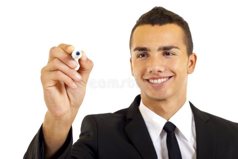 Uomo d'affari con l'indicatore immagine stock