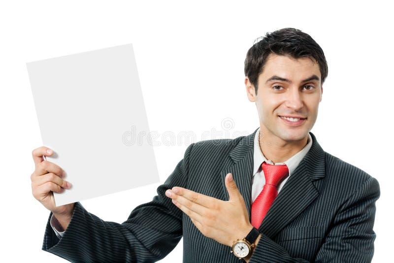 Uomo d'affari con l'insegna immagini stock